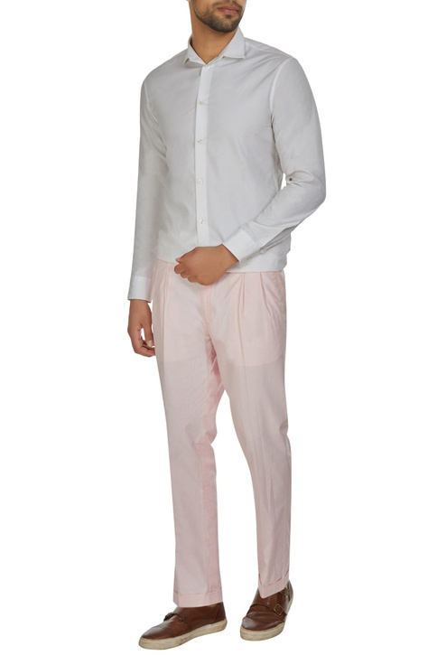 Pink pleated chanderi trousers