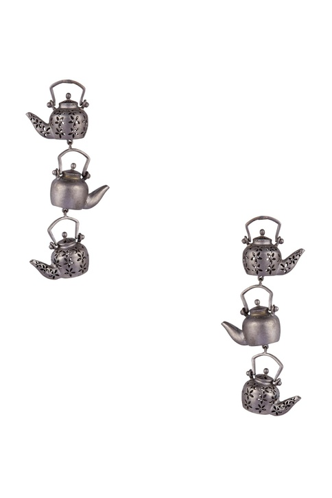 Antique teapot motif long earrings