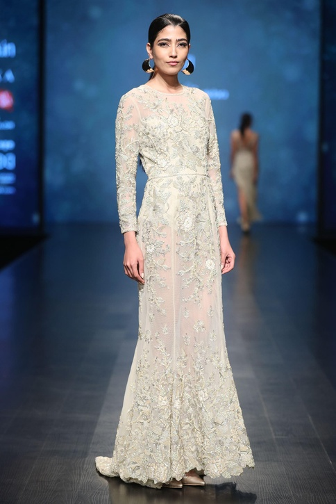 Pale gold bead & sequin hand embroidered gown with bodysuit