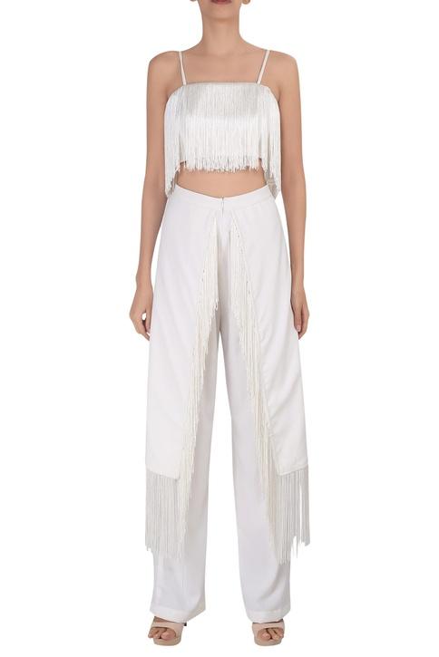Tassel high waist tailored trousers