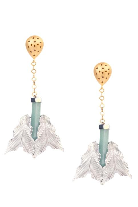 Light green brass druzy stone leaf drop earring