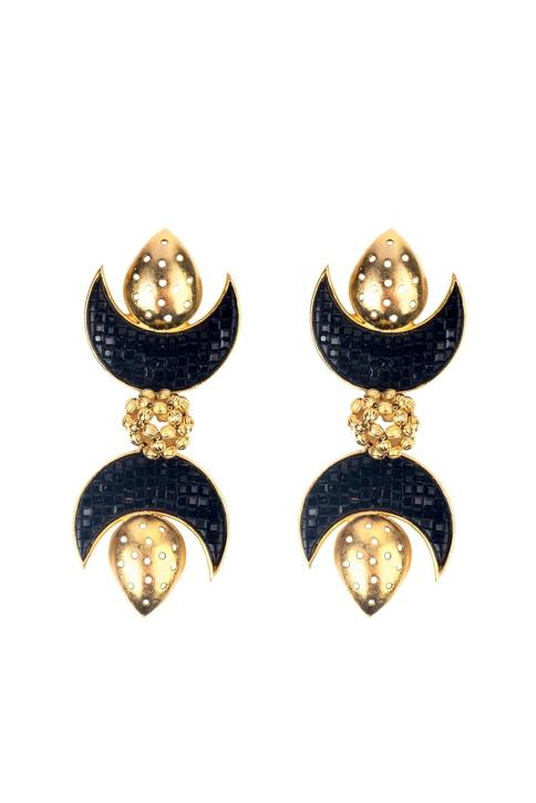 Black brass synthetic inverted moons dangler earrings