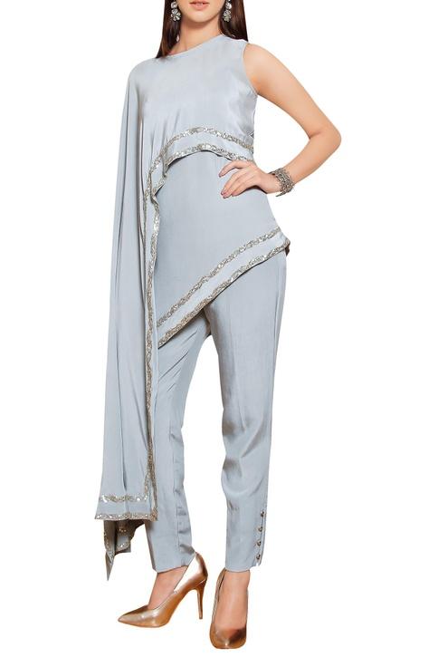 Steel grey silk crepe sequin embellished cape