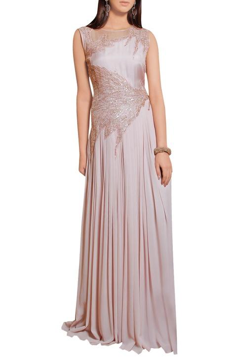 Powder rose georgette sequin embellished gown