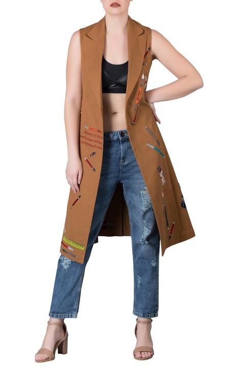 Biscuit-brown gabardine front open long jacket