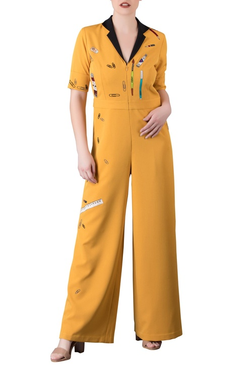 Yellow vintage stationery motif jumpsuit