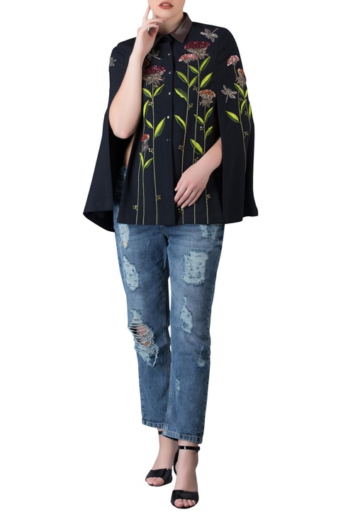 Black imported polyester cape