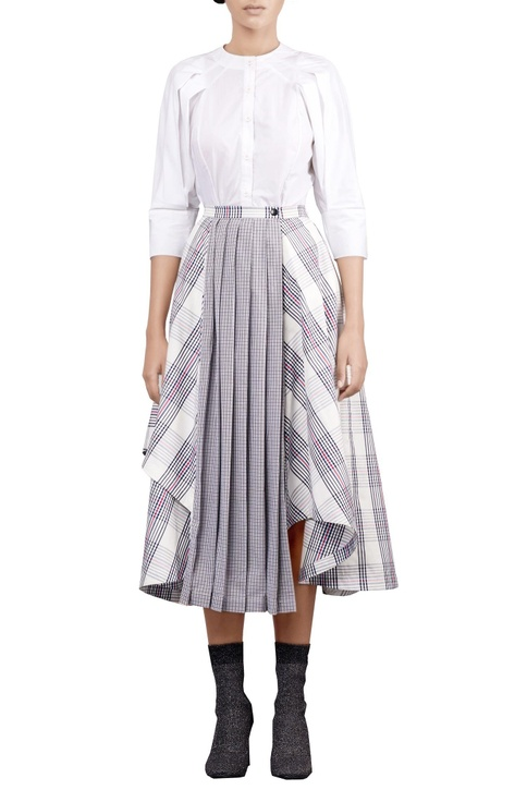 Multicolored check printed asymmetric skirt