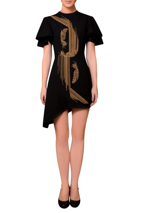 Black satin bead hand embroidered dress