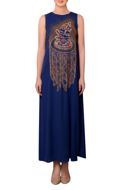 Royal blue viscose georgette bead & thread hand embroidered dress
