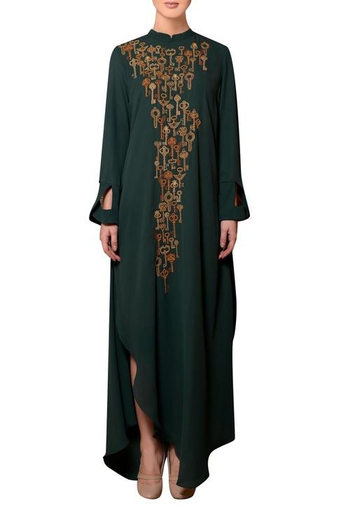 Dark green viscose georgette bead & thread hand embroidered dress