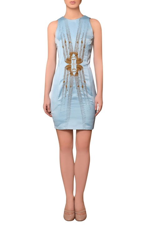 Light blue satin bead & thread hand embroidered dress