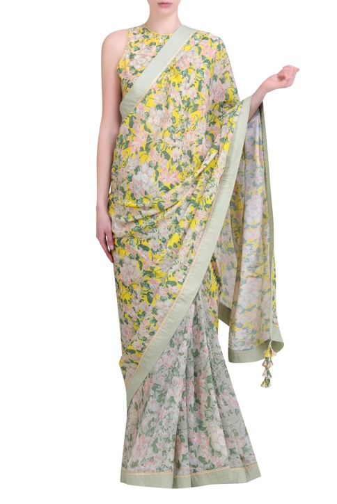 Yellow crepe bibi jaal printed half-and-half saree with embroidered jaal blouse
