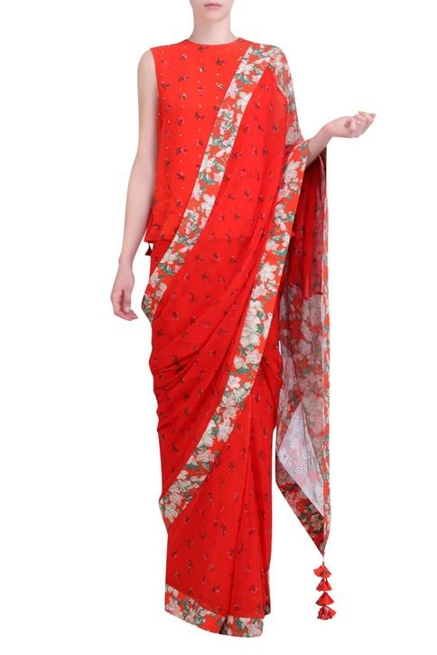 Carrot orange chiffon jaal work saree with blouse