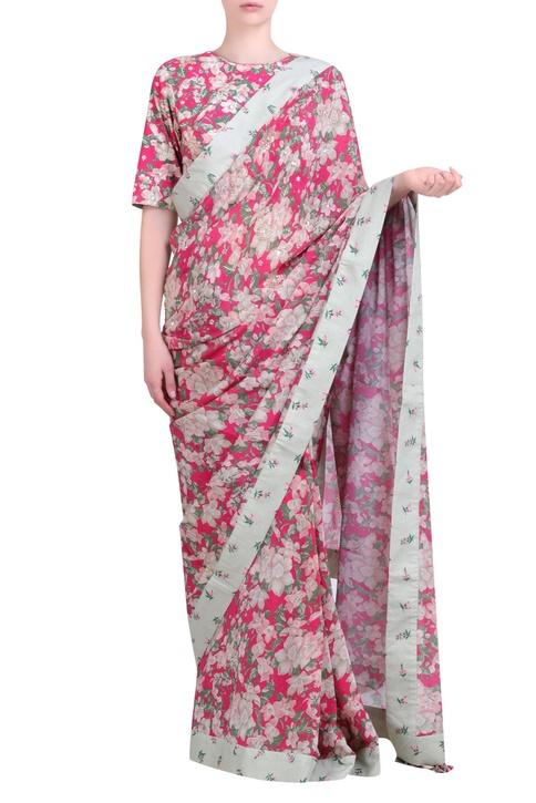 Hot pink crepe bibi jaal printed crepe saree with blouse