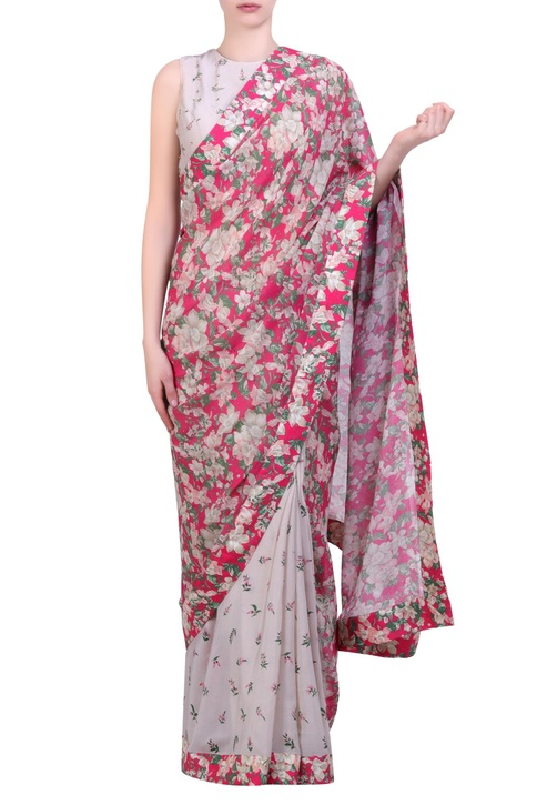 Hot pink crepe & georgette bibi jaal & printed half-and-half saree with grey printed & embroidered blouse