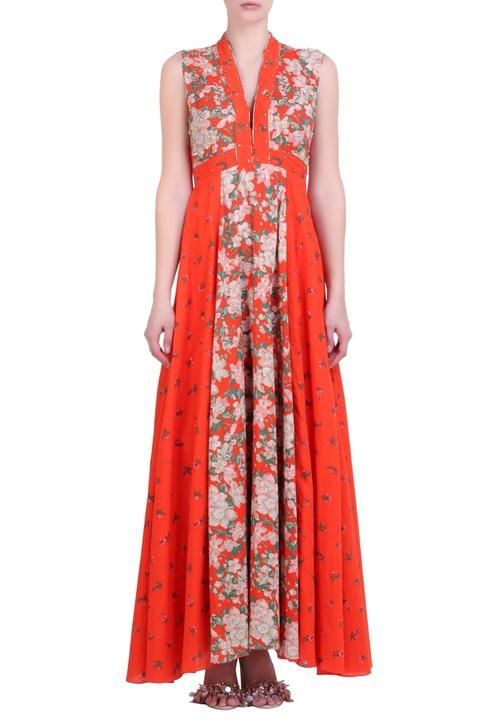 Carrot orange cotton bibi jaal printed dress