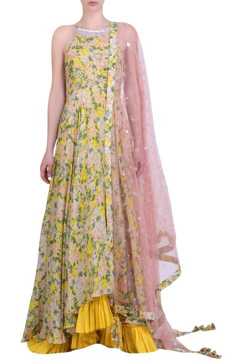 Yellow crepe bibi jaal printed & embroidered halter neck kalidar with churidar & mukaish embroidered dupatta