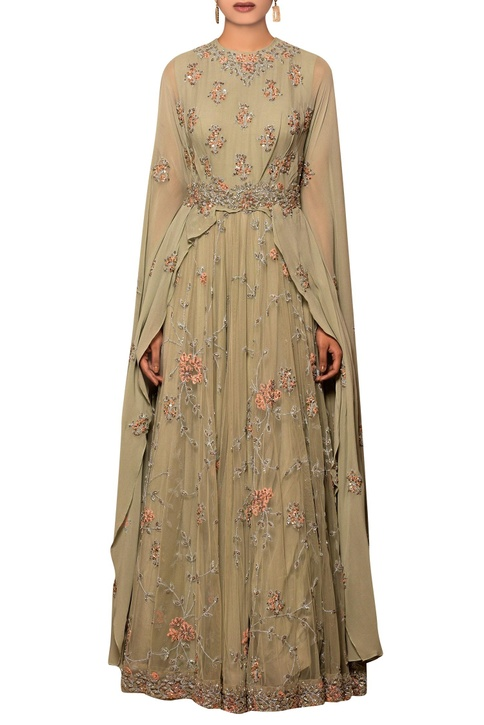 Light grey tulle net, georgette & silk chiffon machine & hand embroidered gown with attached dupatta
