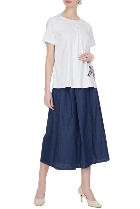 Blue skirt layer pants