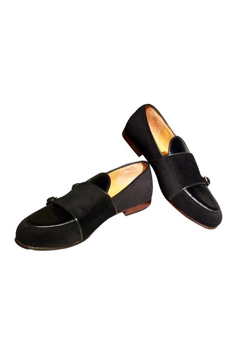 Black pure leather d-monk shoes