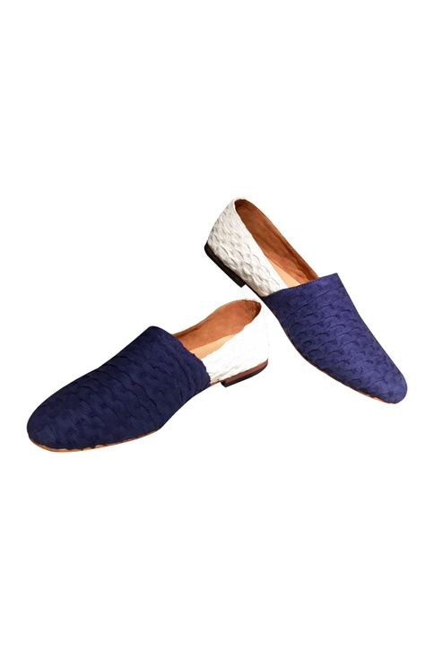 Blue & white fabric espadrilles
