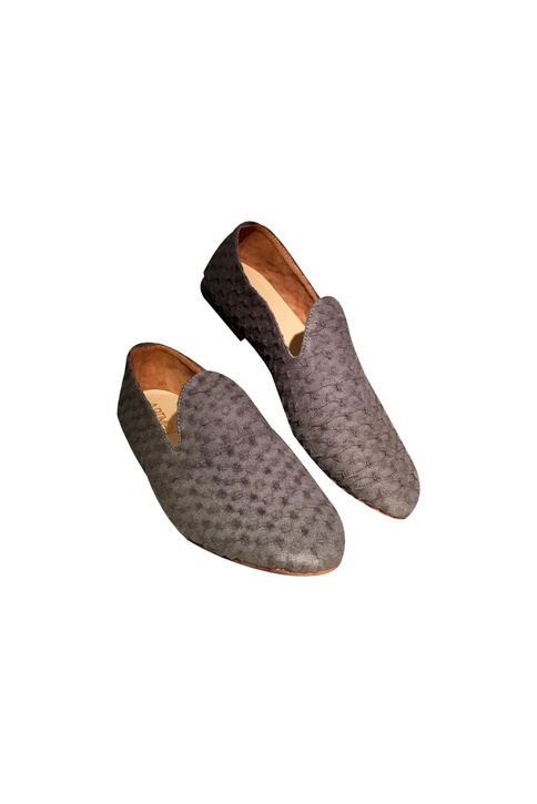 Grey fabric based textured handcrafted loafers