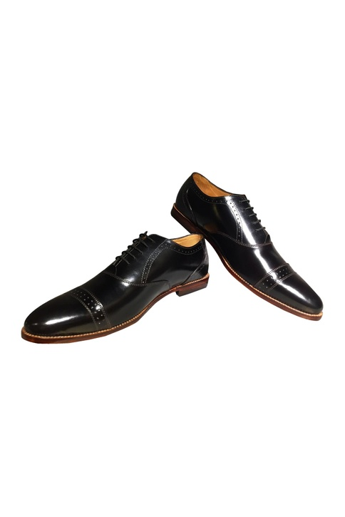 Black pure leather handcrafted oxford shoes