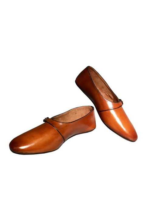 Burnt brown shoes with buckle straps