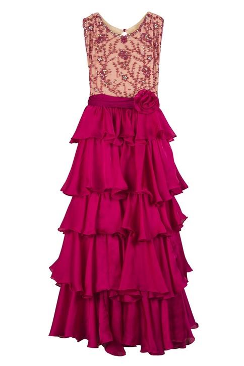 Magenta georgette silk ruffle detail gown