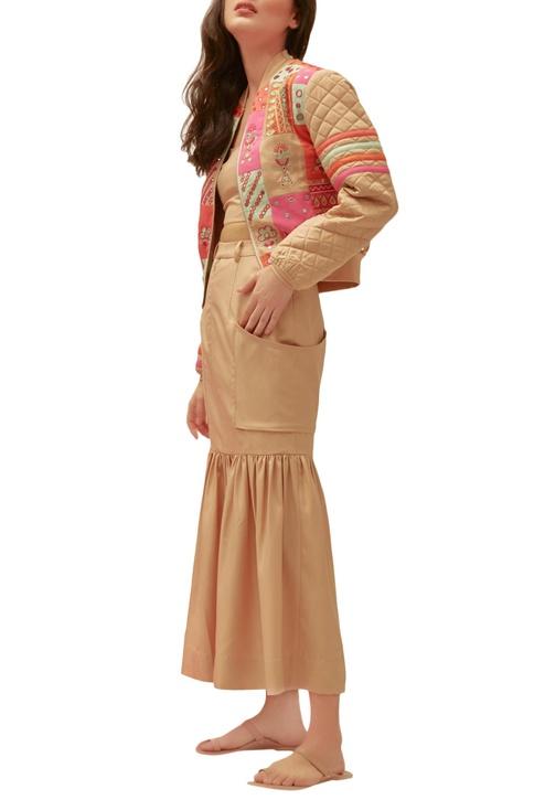 Beige twill patch pocket skirt