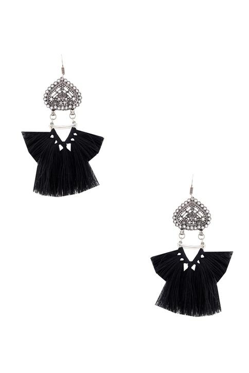 Black tasseled earrings