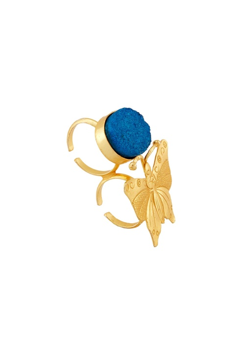 Gold & blue embellished cocktail ring