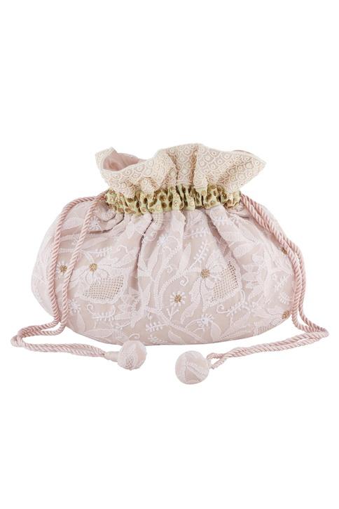 Pale peach silk chikankari & mukaish pearl hand embroidered potli