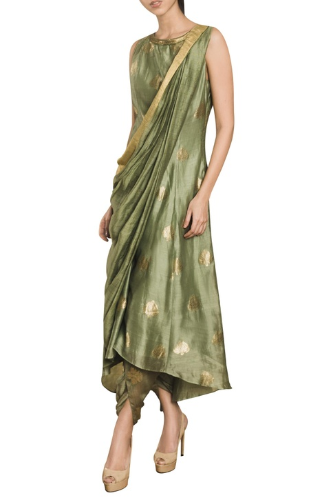 Kurta with attached drape