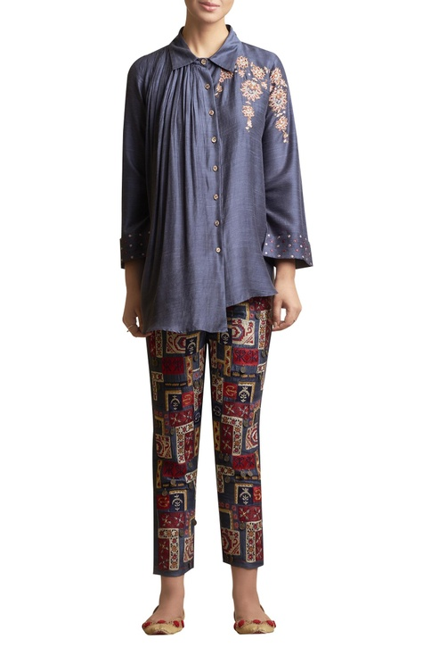 Floral Embroidered Shirt Top