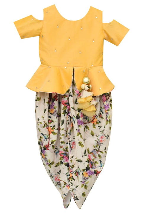 Printed dhoti with top