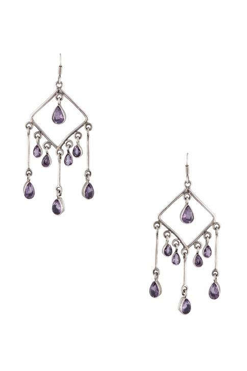 Embellished dangling evening wear earrings