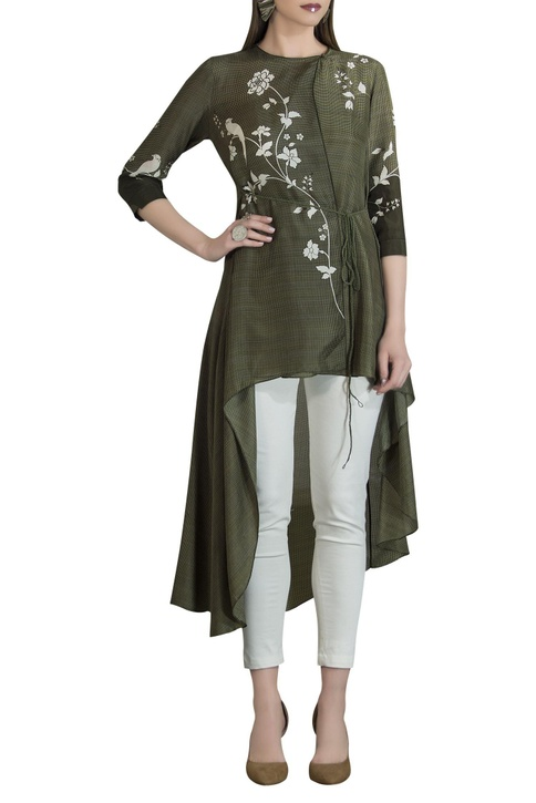 Pure silk asymmetric tunic with tie-up accents