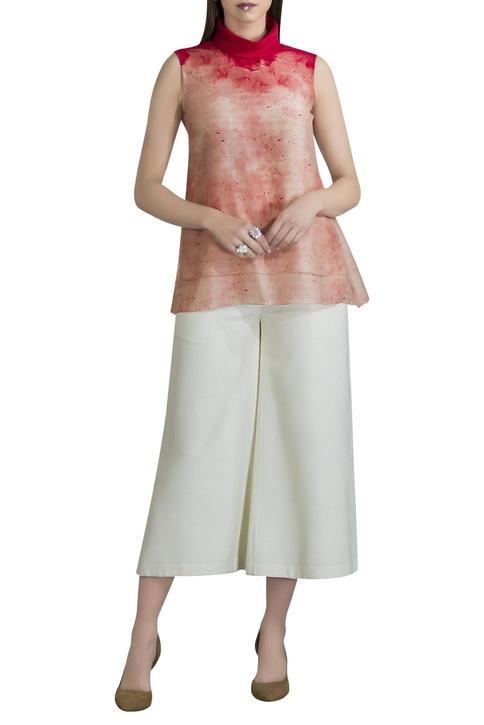 Chanderi dyed turtleneck sleeveless blouse