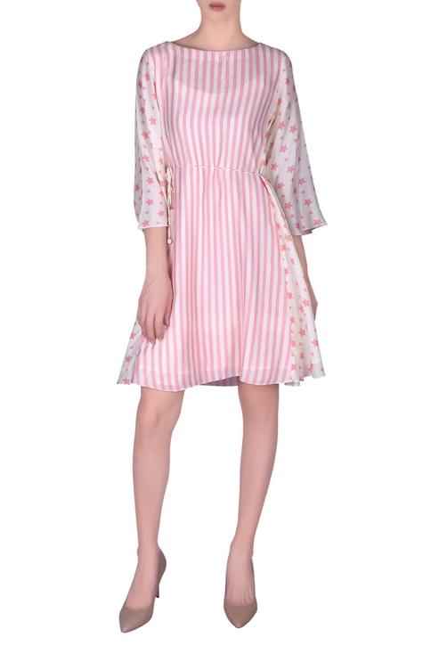 Stripe printed cotton silk flared dress