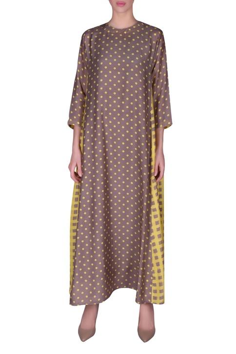Polka dot printed anti-fit maxi dress