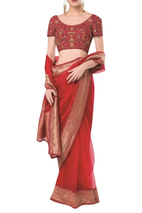 Embroidered blouse with scallop finish saree
