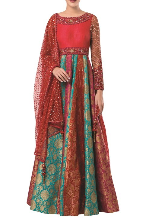 Embroidered anarkali gown with net mesh dupatta