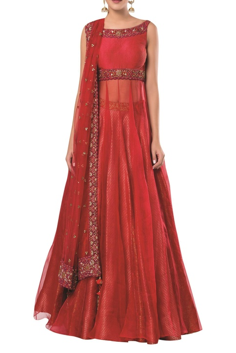 Embroidered long kurta with lehenga and dupatta
