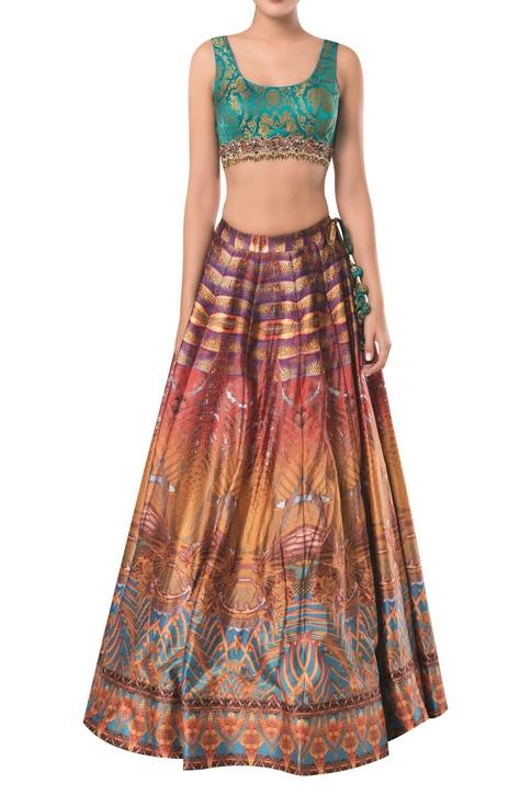 Sleeveless brocade blouse with printed lehenga