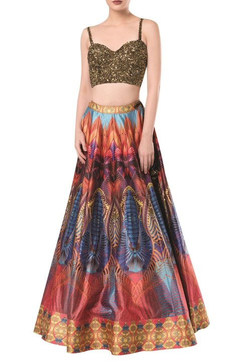 Embroidered blouse with printed lehenga