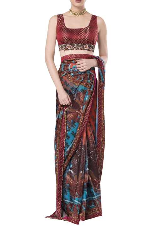 Brocade embroidered blouse with printed sari
