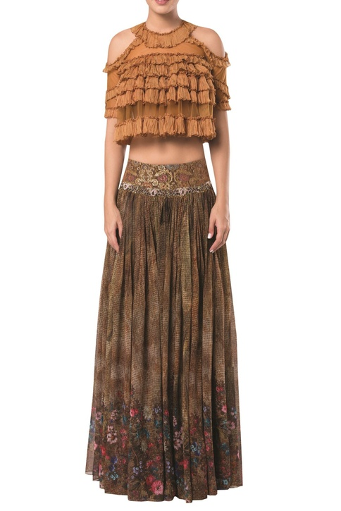 Cold shoulder layered crop top blouse with printed lehenga