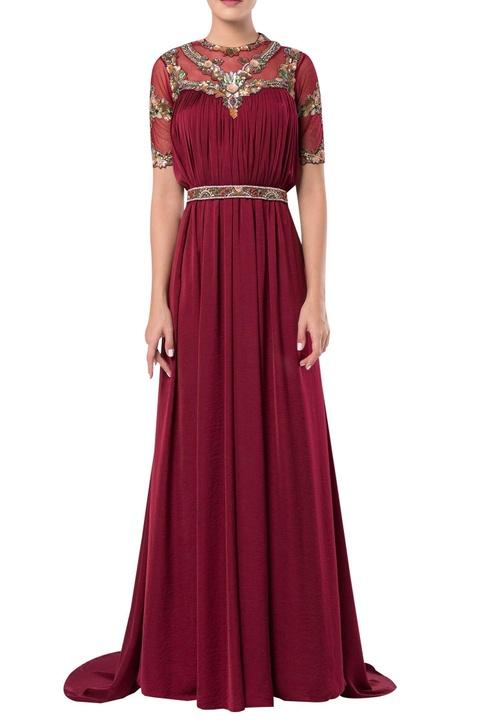 Sheer neckline flared gown